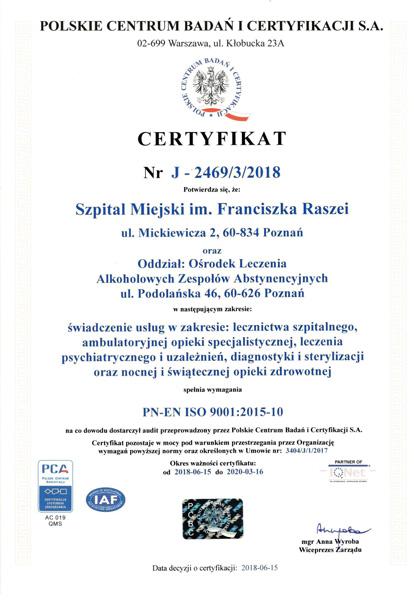 Certyfikat jakości szpitala imienia Raszei w Poznaniu (wersja polska)