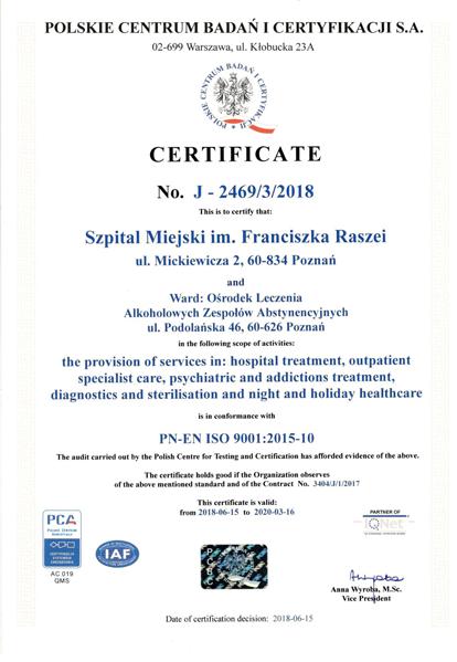 Certyfikat jakości szpitala imienia Raszei w Poznaniu (wersja angielska)
