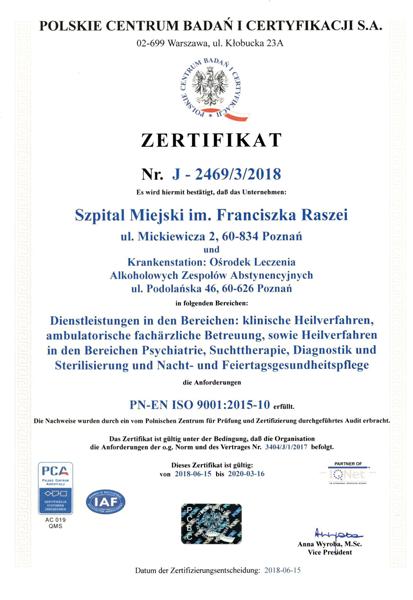 Certyfikat jakości szpitala imienia Raszei w Poznaniu (wersja niemiecka)