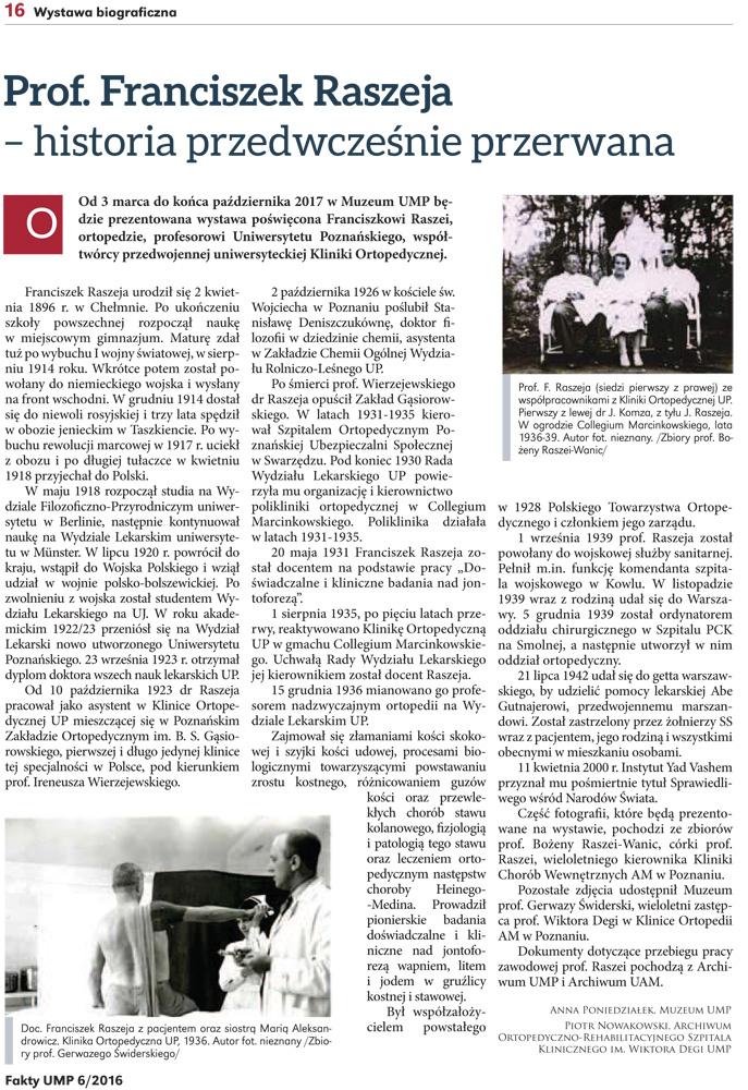 Artykuł z dwumiesięcznika informacyjnego UMP nr 6/2016 dotyczący Patrona Naszego Szpitala.