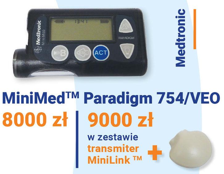 Pompa insulinowa Medtronic MiniMed cena: 8000 zł i Paradigm 754/VEO cena 9000 zł
