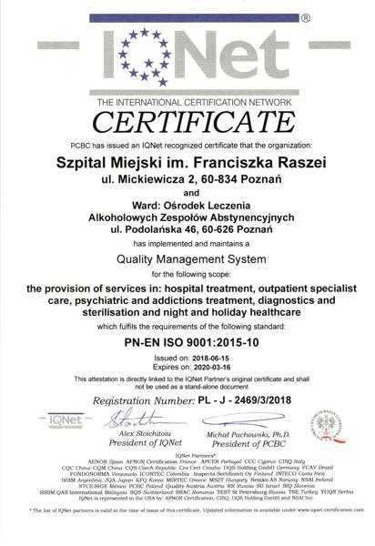 Certyfikat jakości IQNet imienia Raszei w Poznaniu
